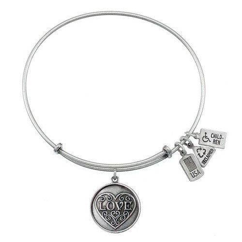Wind & Fire Love, Filigree Heart Silver Finish Charm Bangle
