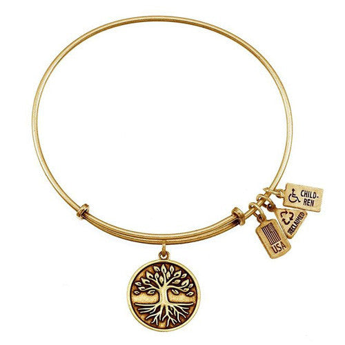 Wind and Fire Tree of Life Gold Tone Finish Charm Bangle