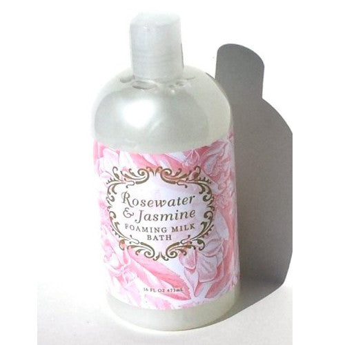 Rosewater & Jasmine Bubble Bath Foaming Milk Bath | Shea Butter Cocoa Butter Jasmine Oil Luxouriously Relaxing Bath 16 oz by Greenwich Bay Trading Co.