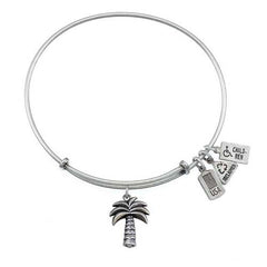 3-D Palm Tree Charm Bangle-Silver