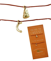 Lucky Feather Besties Are Forever Cheese & Macaroni Linen Cord 2 Necklace Set