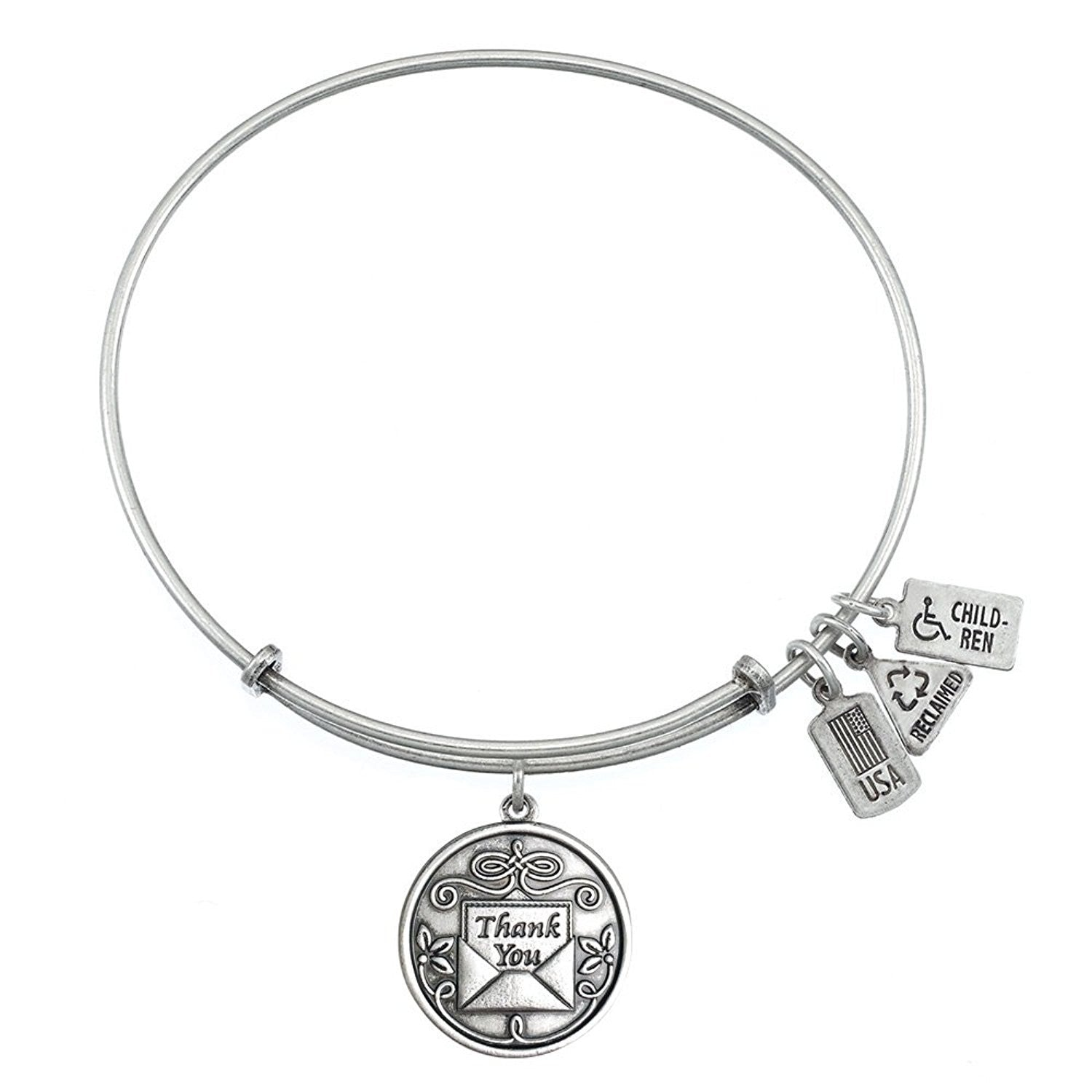 Wind and Fire Thank You Charm Bangle Bracelet