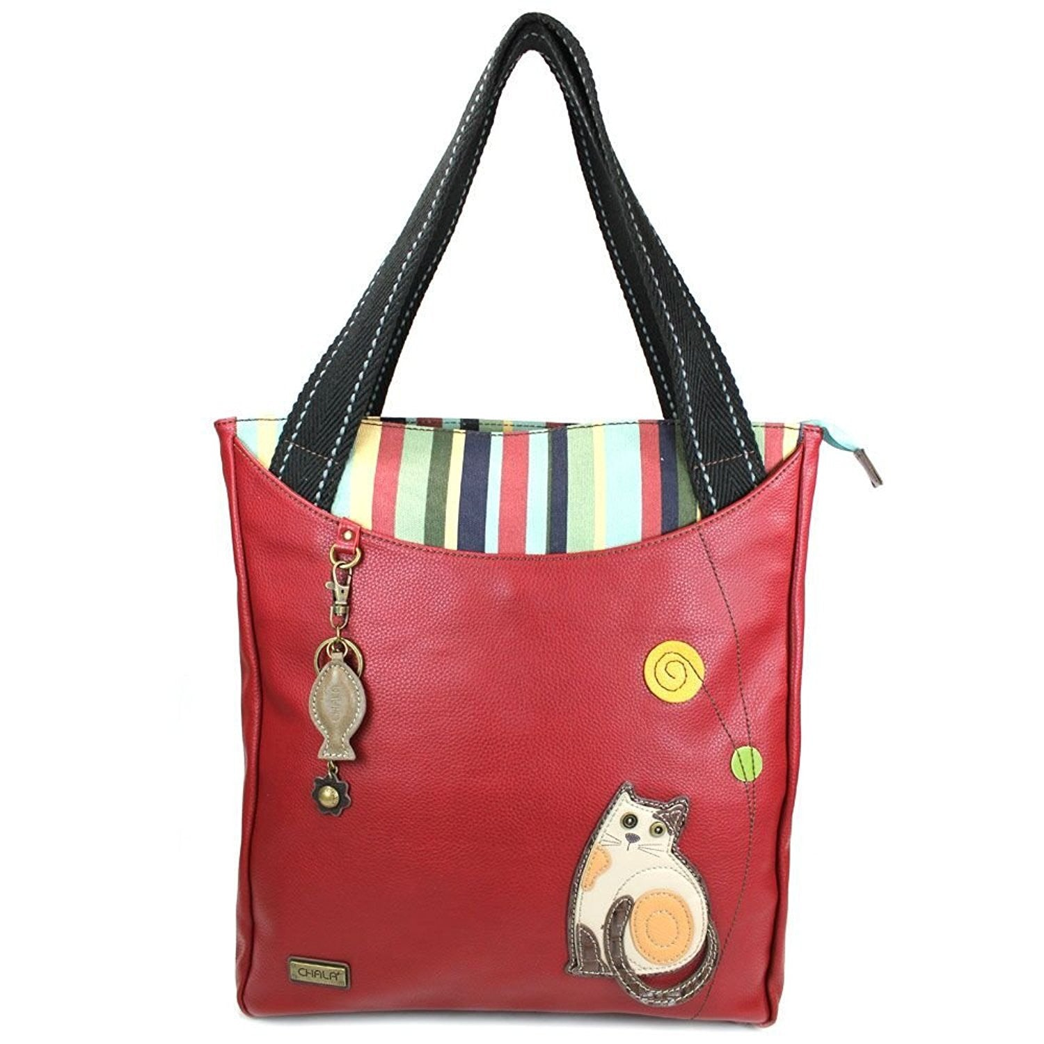 Chala Striped Zip Tote Burgundy Cat with Detachable Charm / Keychain