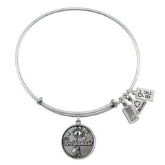 Wind and Fire Bridesmaid Silvertone Finish Charm Bangle