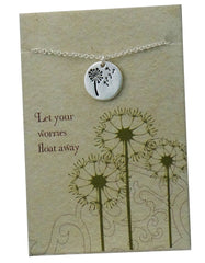 "Lucky Feather Enchantments ""Worries Float Away"" Dandelion Stamped Coin Necklace"