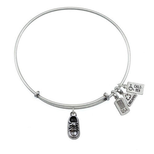 Wind and Fire 3-D Baby Shoe Charm Bangle Silver Tone Bracelet