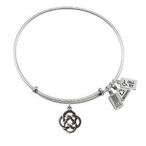 Wind and Fire 3-D Celtic Knot Charm Bangle Bracelet