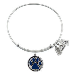 Wind and Fire Blue Paw Print Silver Tone Finish Charm Bangle