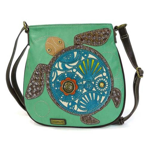 Chala Deluxe Messenger Crossbody Bag Vegan Leather SEA TURTLE gift Teal Green