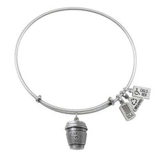Wind and Fire Coffee Cup Charm Bangle Bracelet