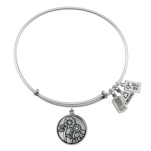 Wind and Fire Friend with Sunflowers Charm Bangle Bracelet