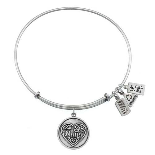 Wind and Fire Nana Charm Bangle Bracelet Antique Silver Finish