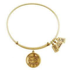 Wind and Fire You Are My Sunshine Gold Tone Finish Charm Bangle