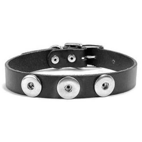 Ginger Snaps 3-Snap Medium Dog Collar Black Leather Interchangeable Snap