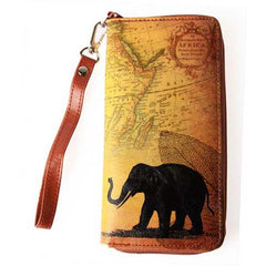 Lavishy Vegan Leather Animal Vintage Wristlet Wallet Tan