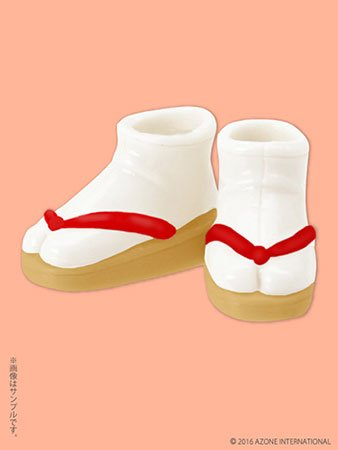 Doll Clothes - Picconeemo Costume - Soft Vinyl Sandals - 1/12 - Beige x Red (Azone)