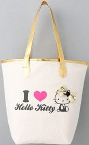 Image 2 for Sanrio Hello Kitty 35th Anniversary Book W/Gold Logo Tote Bag