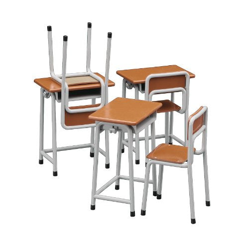 Image 4 for 1/12 Posable Figure Accessory - School Desks and Chairs - 1/12 (Hasegawa)