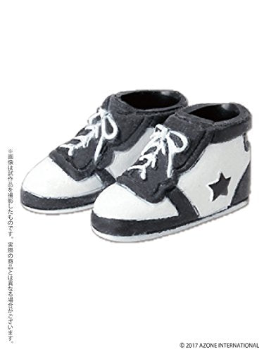 Doll Clothes - Picconeemo Costume - Soft Vinyl High Cut Sneakers - 1/12 - Black x White (Azone)