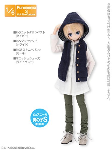 Doll Clothes - Pureneemo Original Costume - PureNeemo S Size Costume - Knit Down Vest - 1/6 - Navy (Azone)
