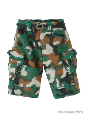 Doll Clothes - Picconeemo Costume - Half Cargo Pants - 1/12 - Camouflage Green (Azone)