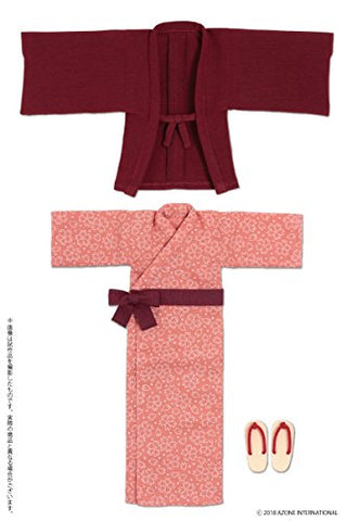 Doll Clothes - PureNeemo S Size Costume - Pureneemo Original Costume - Onsen Yukata Set - 1/6 - Dark Red (Azone)