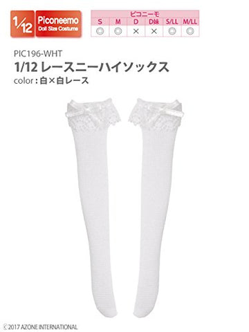 Doll Clothes - Picconeemo Costume - Lace Knee-high Socks - 1/12 - White x White Lace (Azone)