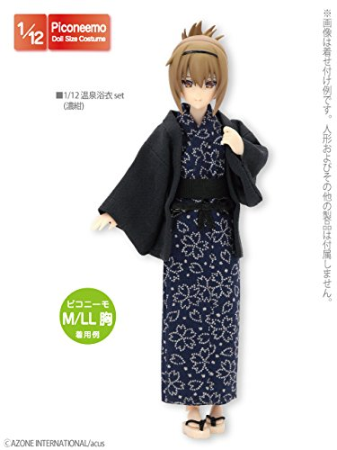 Doll Clothes - Pureneemo Original Costume - PureNeemo S Size Costume - Onsen Yukata Set - 1/6 - Dark Navy (Azone)