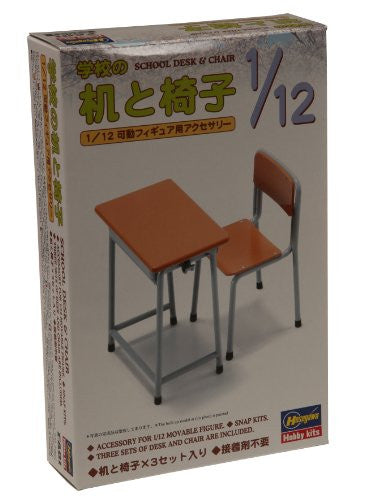 Image 1 for 1/12 Posable Figure Accessory - School Desks and Chairs - 1/12 (Hasegawa)