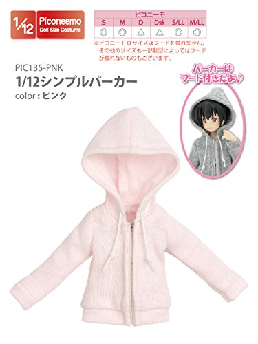 Doll Clothes - Picconeemo Costume - Simple Parka - 1/12 - Pink (Azone)