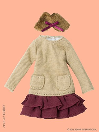 Doll Clothes - Picconeemo Costume - Tippet & Knit Chiffon One-piece Set - 1/12 - Light Brown x Bordeaux (Azone)