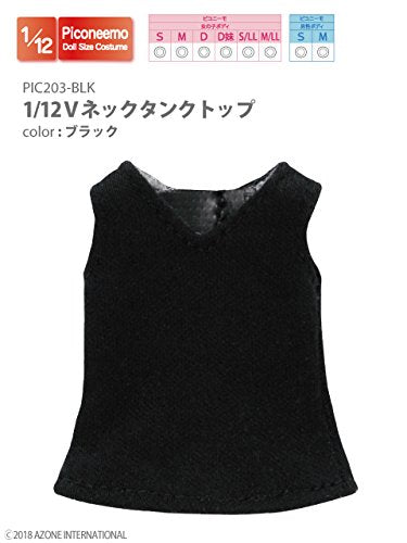 Doll Clothes - Picconeemo Costume - V Neck Tank Top - 1/12 - Black (Azone)