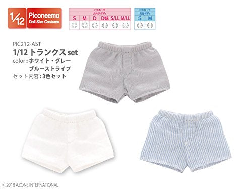 Doll Clothes - Picconeemo Costume - Trunks Set - 1/12 - White/Gray/Blue Stripes (Azone)