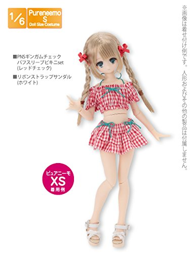 Doll Clothes - Pureneemo Original Costume - PureNeemo S Size Costume - Gingham Check Puff Sleeve Bikini Set - 1/6 - Red Plaid (Azone)