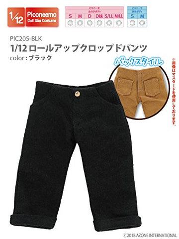 Doll Clothes - Picconeemo Costume - Roll-up Cropped Pants - 1/12 - Black (Azone)