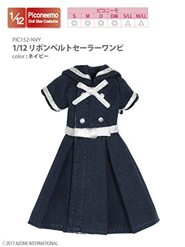 Doll Clothes - Picconeemo Costume - Ribbon Belt Sailor One-piece Dress - 1/12 - Navy (Azone)