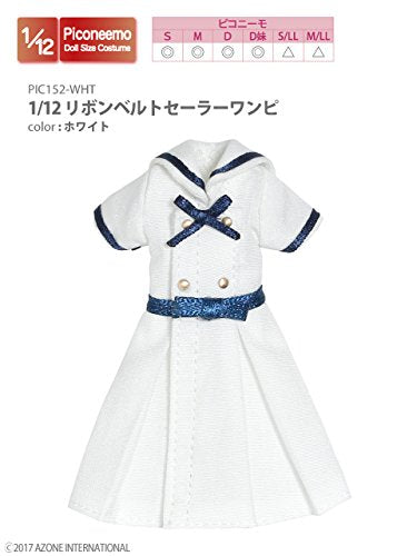 Doll Clothes - Picconeemo Costume - Ribbon Belt Sailor One-piece Dress - 1/12 - White (Azone)