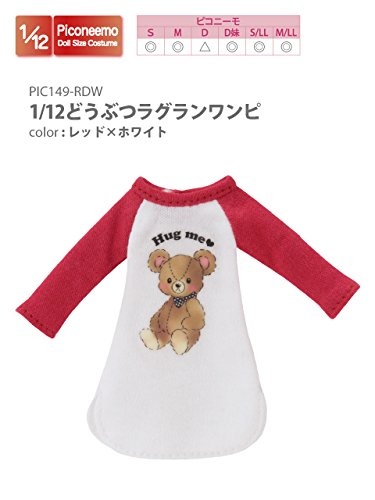 Doll Clothes - Picconeemo Costume - Animal Raglan Dress - 1/12 - Red x White (Azone)