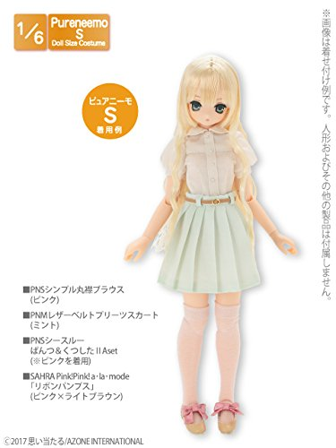 Doll Clothes - PureNeemo M Size Costume - Pureneemo Original Costume - Leather Belt Pleated Skirts - 1/6 - Mint (Azone)