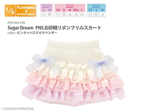 Doll Clothes - Pureneemo Original Costume - PureNeemo S Size Costume - Sugar Dream Osatou Ribbon Frill Skirt - 1/6 - Pink x Pastel Lavender (Azone)