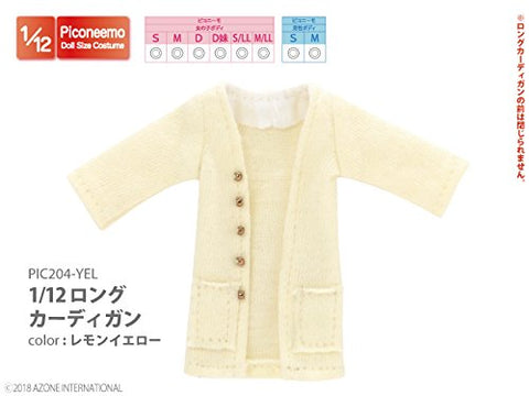 Doll Clothes - Picconeemo Costume - Long Cardigan - 1/12 - Lemon Yellow (Azone)