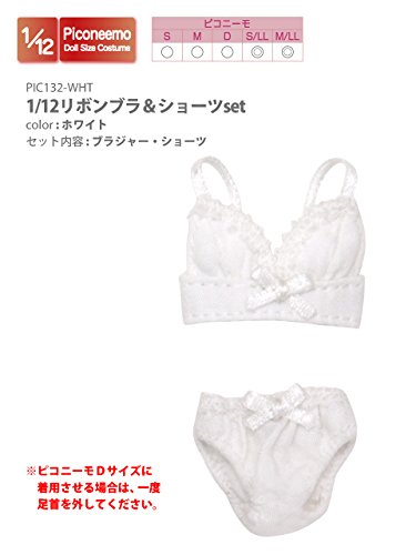 Doll Clothes - Picconeemo Costume - Ribbon Brassiere & Shorts Set - 1/12 - White (Azone)