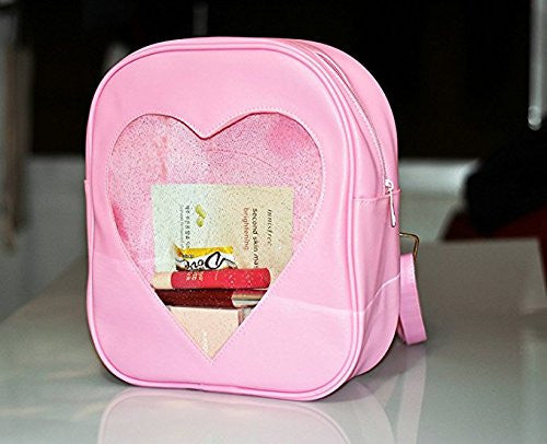 Image 6 for Ita Bag - Clear Heart Backpack - Akssweet - Pink
