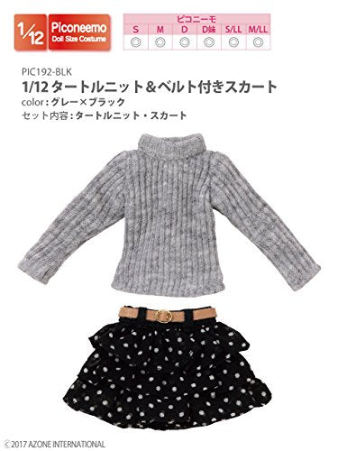 Doll Clothes - Picconeemo Costume - Turtle Knit & Belted Skirt Set - 1/12 - Grey x Black (Azone)