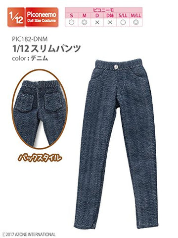 Doll Clothes - Picconeemo Costume - Slim Pants - 1/12 - Denim (Azone)