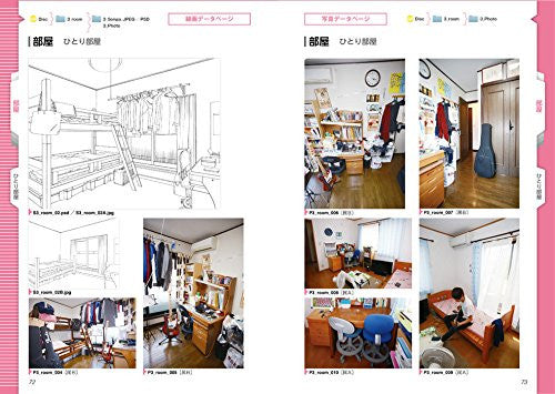Image 6 for Digital Scenery Catalogue - Manga Drawing - Buildings and Rooms - Incl. CD