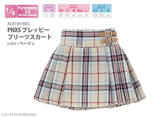 Doll Clothes - Pureneemo Original Costume - PureNeemo XS Size Costume - Preppy Pleated Skirt - 1/6 - Beige (Azone)