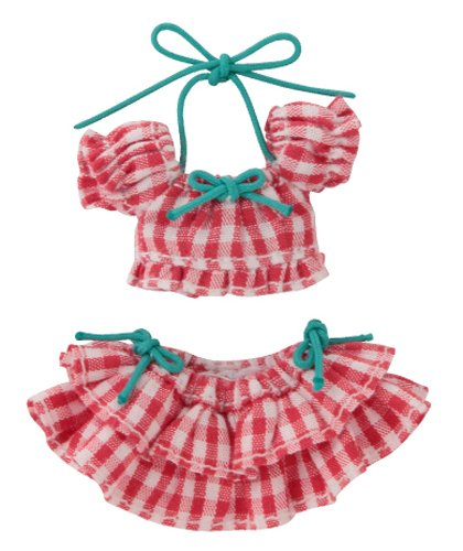 Doll Clothes - Picconeemo Costume - Gingham Check Puff Sleeve Bikini Set - 1/12 - Red Plaid (Azone)