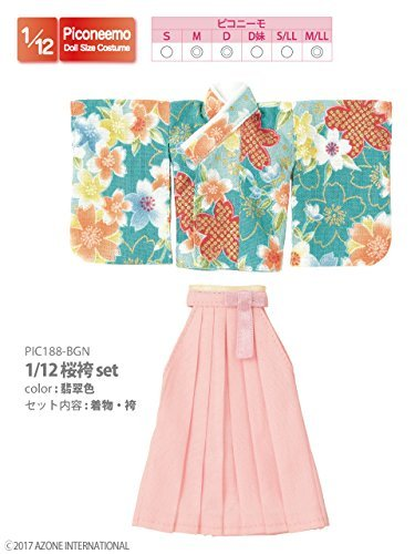 Doll Clothes - Picconeemo Costume - Sakura Hakama set - 1/12 - Jade Color (Azone)