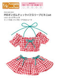 Doll Clothes - Pureneemo Original Costume - PureNeemo S Size Costume - Gingham Check Puff Sleeve Bikini Set - 1/6 - Red Plaid (Azone) - 3